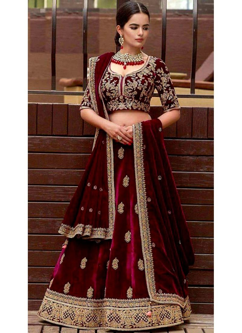Shop Online Bridal Maroon Velvet Diamond Work Lehenga Choli With Mono Net Dupatta