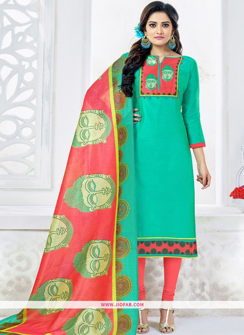 75bb6d591e59 Online Purchase Chanderi Embroidered Turquoise Color Dress Material