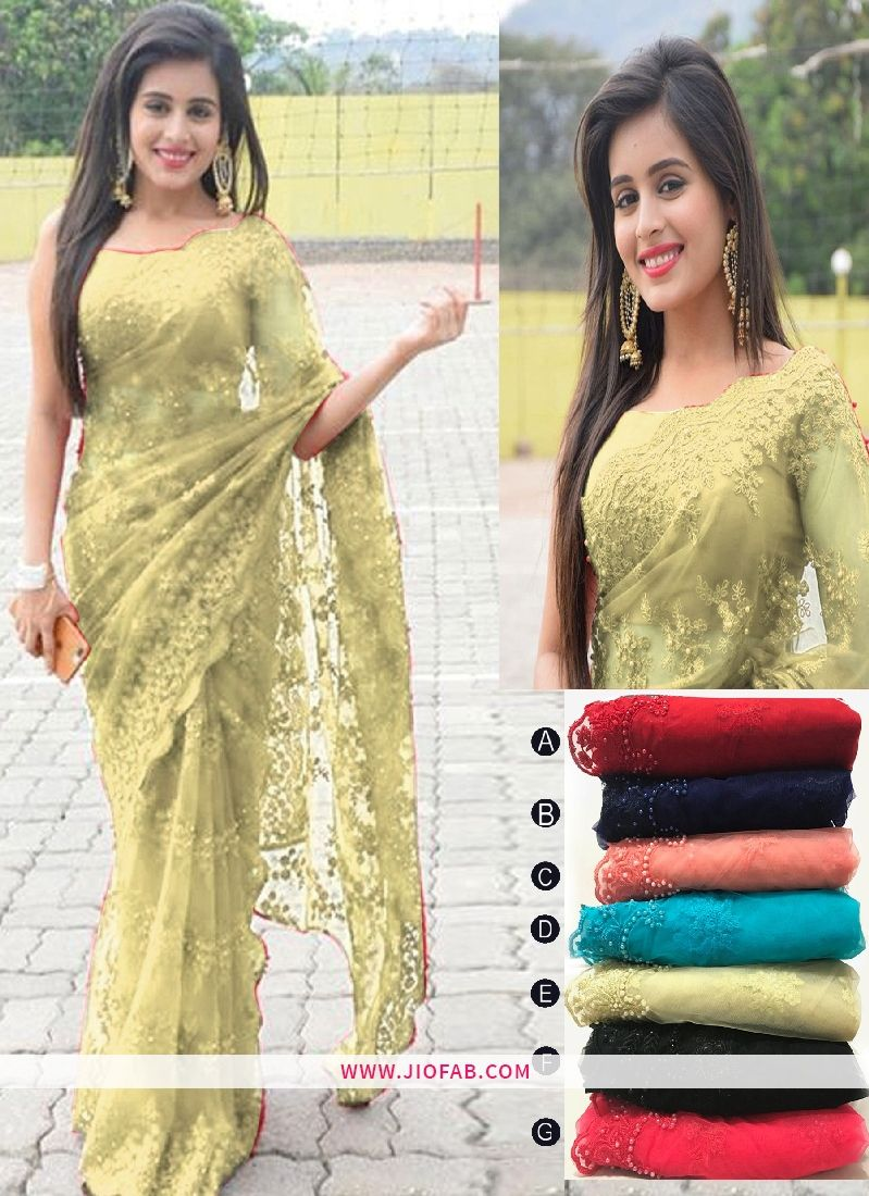 Buy Chiku Embroidered Work Soft Net Partywear Saree Online India Uk Us
