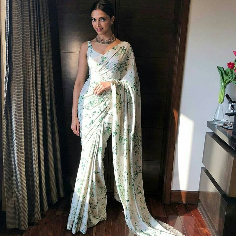 09fd816ad4 Buy Online Deepika Padukone Bollywood White Chinon Silk Digital Printed  Saree