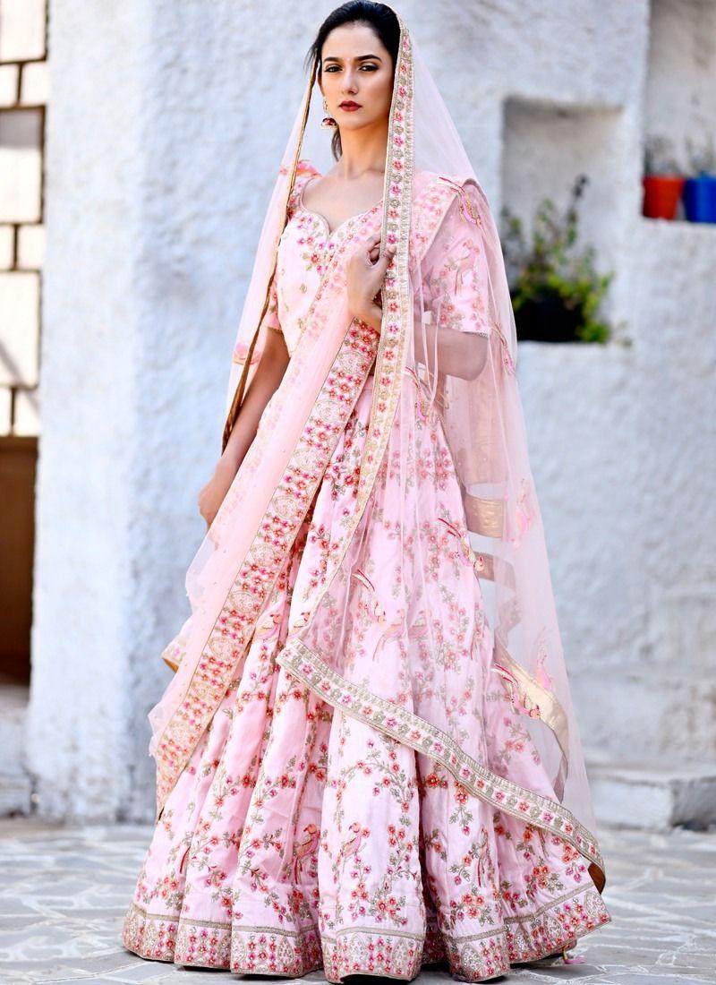 b67faf50120c3b Buy Delightful Flamingo Pink Chennai Silk Designer Lehenga Choli For Party  Online