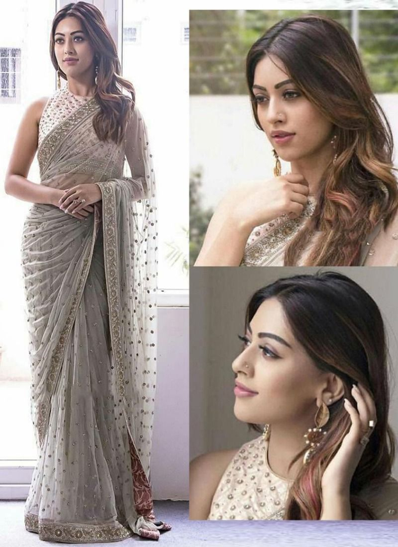 e3c871b955 Buy Online Demanded Grey Butterfly Pallu Fancy Thread Work Net Saree