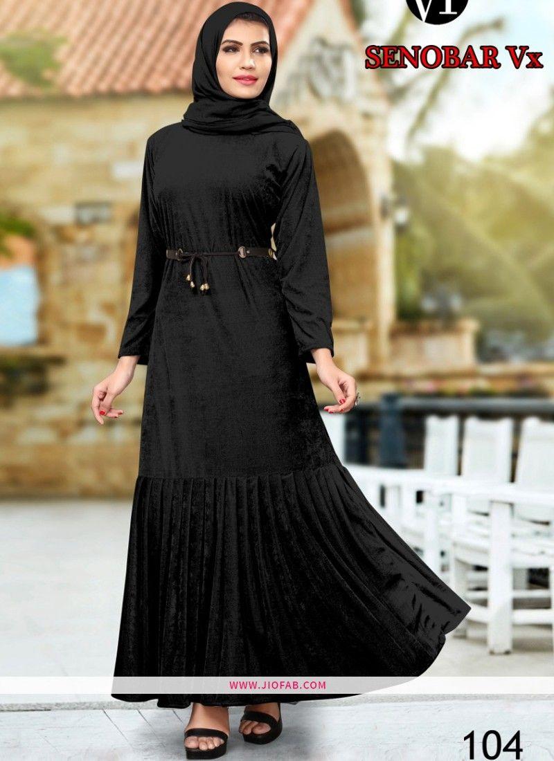 Buy Designer Black Velvet Plain Long Kurti Online