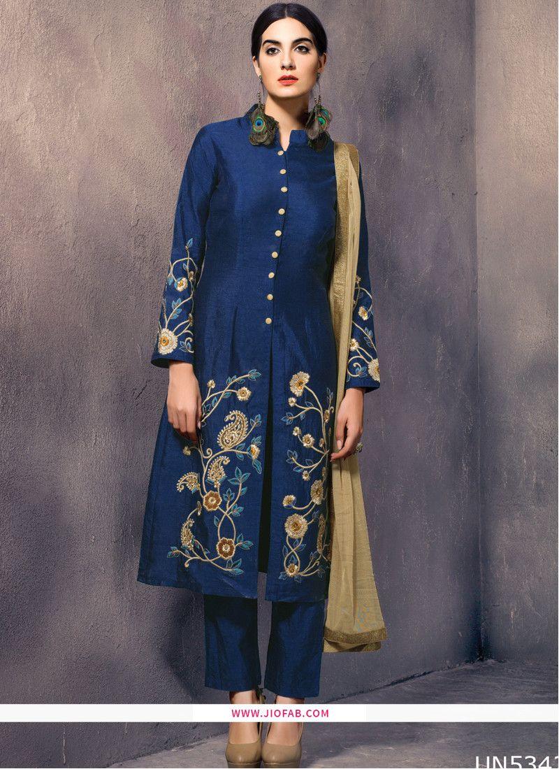 f458485e1b Buy Online Designer Blue Art Silk Embroidered Readymade Salwar Suit