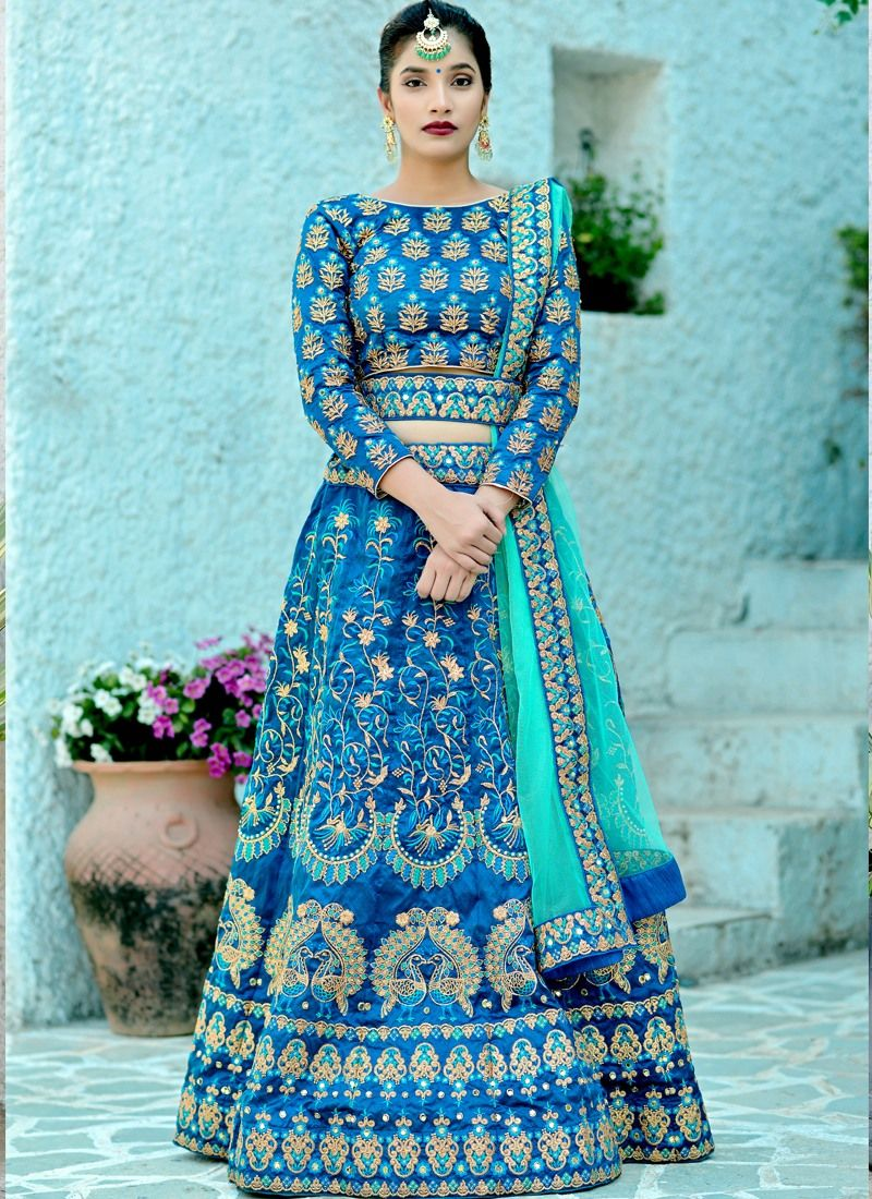 893667b413 Buy Designer Harbour Blue Silk Embroidered Wedding Lehenga Choli With Bridal  Net Dupatta Online