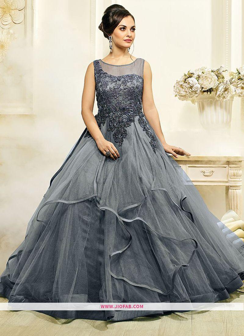 13355c66ca Shop Designer Latest New Arrival Partywear Grey Color Gown Online