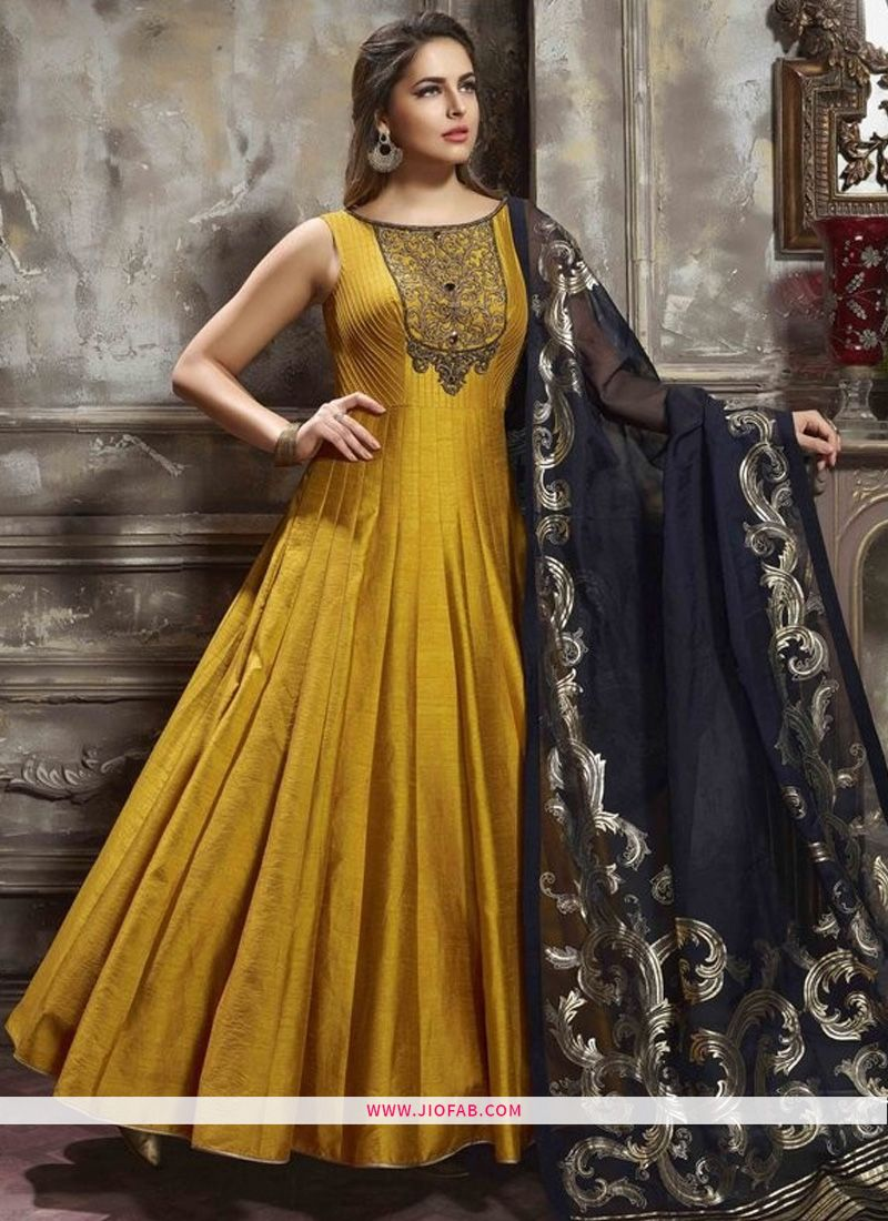 b0a8842f9e Shop Designer Latest New Arrival Partywear Yellow Color Gown Online