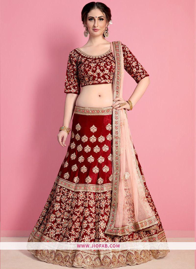 ede2d34ecc4a Buy Designer Maroon Embroidered Velvet Silk Wedding Lehenga Choli Online