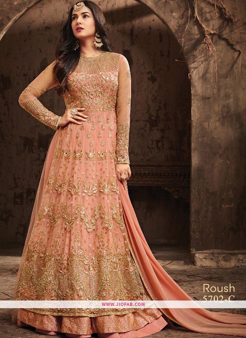 4a6935858c Buy Designer Orange Embroidered Heavy Net Lehenga Style Salwar Suit Online