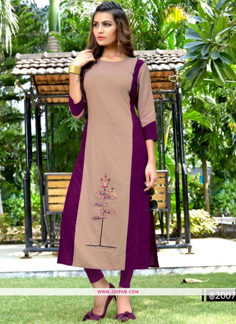 30c34b88f7 Shop Designer Partywear Brown And Purple Heavy Rayon Embroidered Straight Kurti  Online