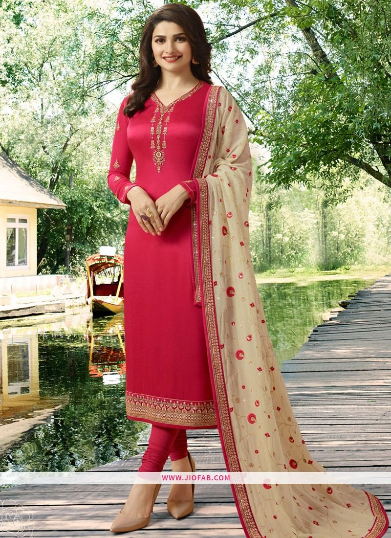 d97c1e3983 Buy Designer Partywear Embroidered Light Red Satin Georgette Straight Suit  Online