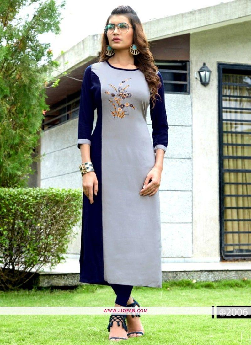 3817f2460c3 Buy Designer Partywear Grey Heavy Rayon Embroidered Straight Kurti Online