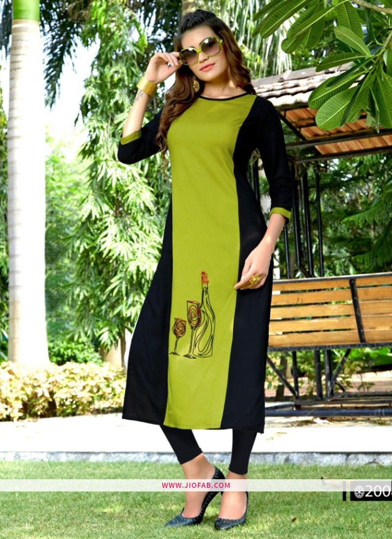 4f230831c9 Online Purchase Designer Partywear Mahendi And Black Heavy Rayon Embroidered  Straight Kurti