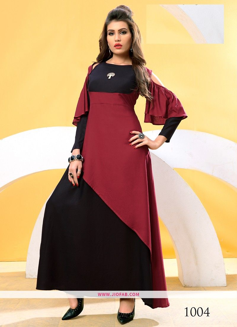 0581bc1c79 Buy Online Designer Partywear Maroon And Black Rayon Cotton Fancy Kurti