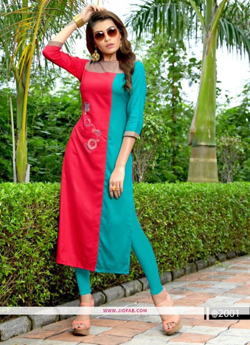 a05b4db21c Buy Designer Partywear Red Heavy Rayon Embroidered Straight Kurti Online