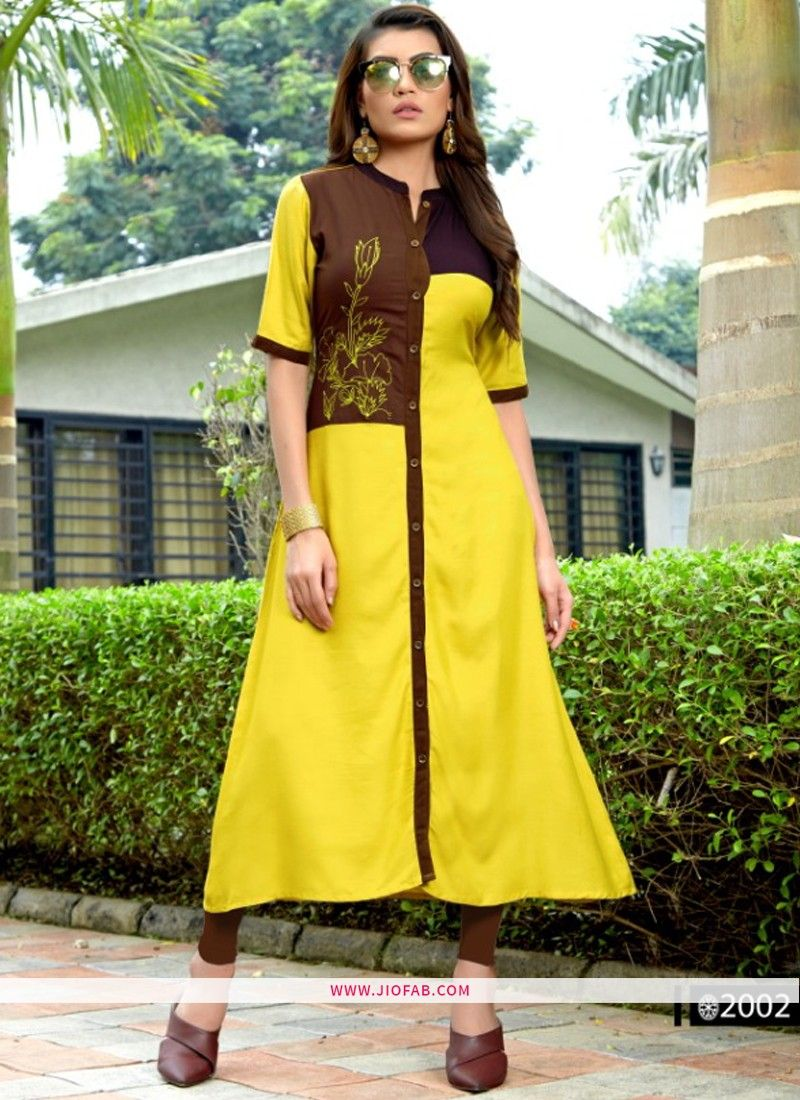 372e802e7d Shop Designer Partywear Yellow And Brown Heavy Rayon Embroidered Straight Kurti  Online