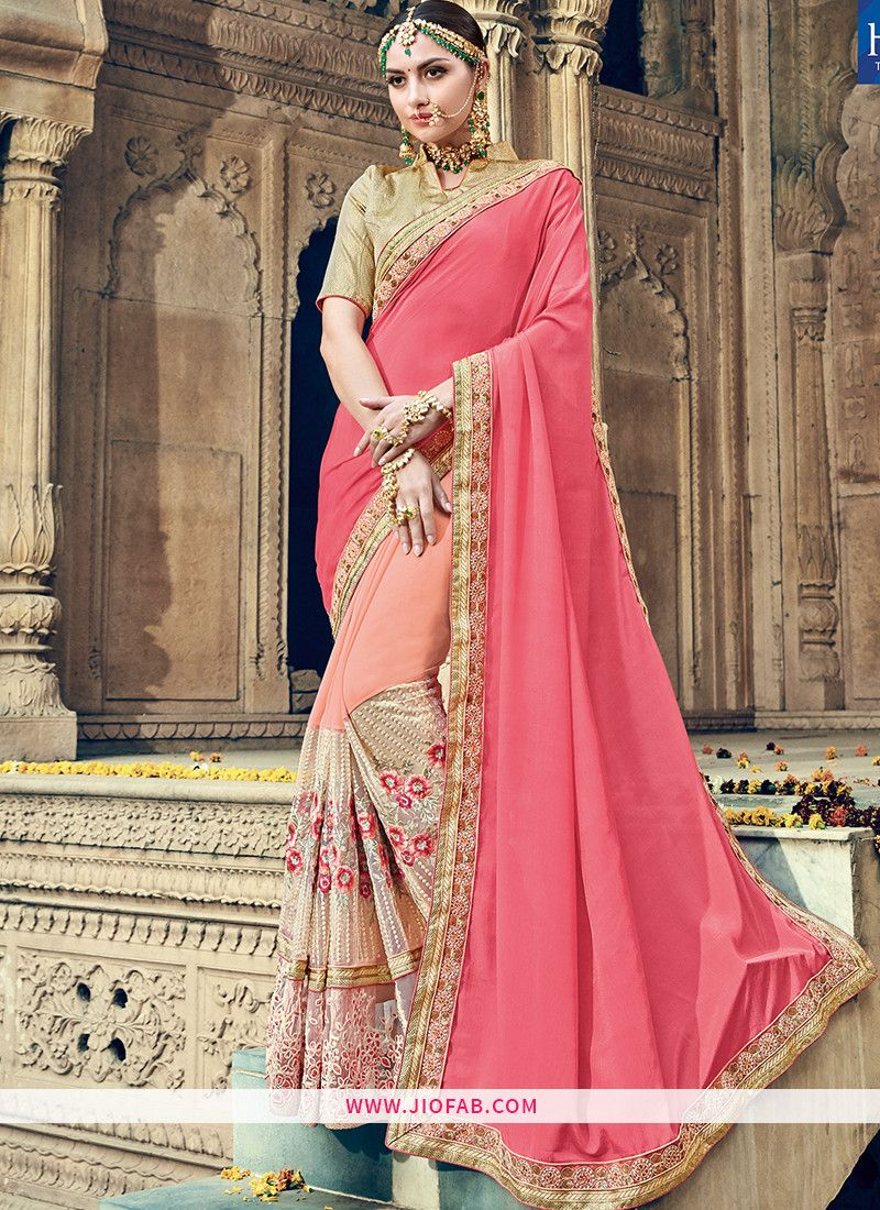 294936b8d7 Shop Online Designer Pastel Pink Embroidered Lace Border Fancy Fabric Saree