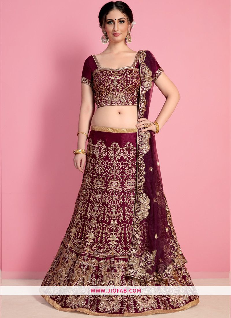 40b61db97b Online Purchase Designer Wine Embroidered Velvet Silk Festival Lehenga Choli .
