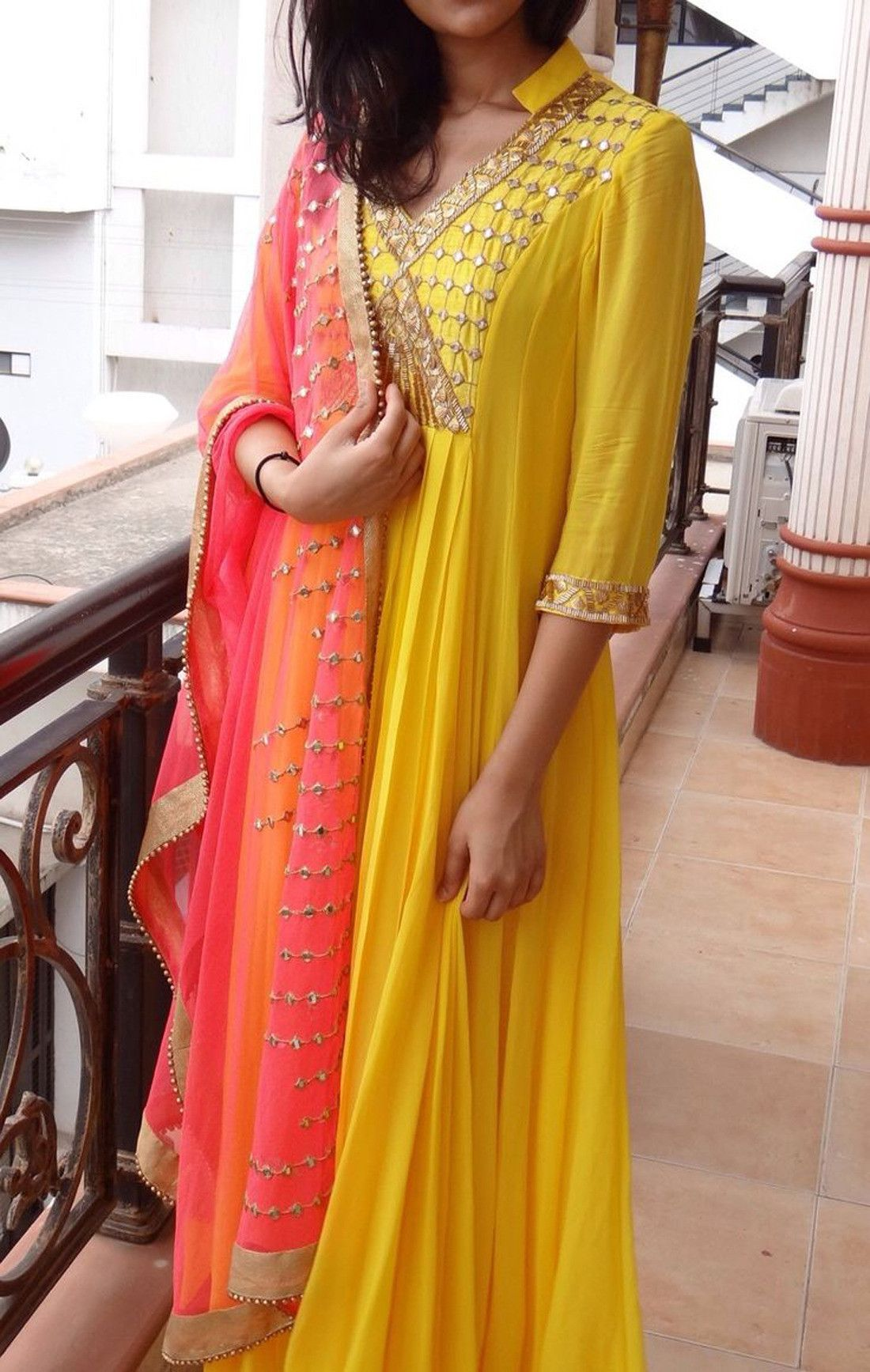 6e5f13559f Buy Online Designer Yellow Color Embroidered Work Georgette Karachi Style  Suit - Women Indian Store