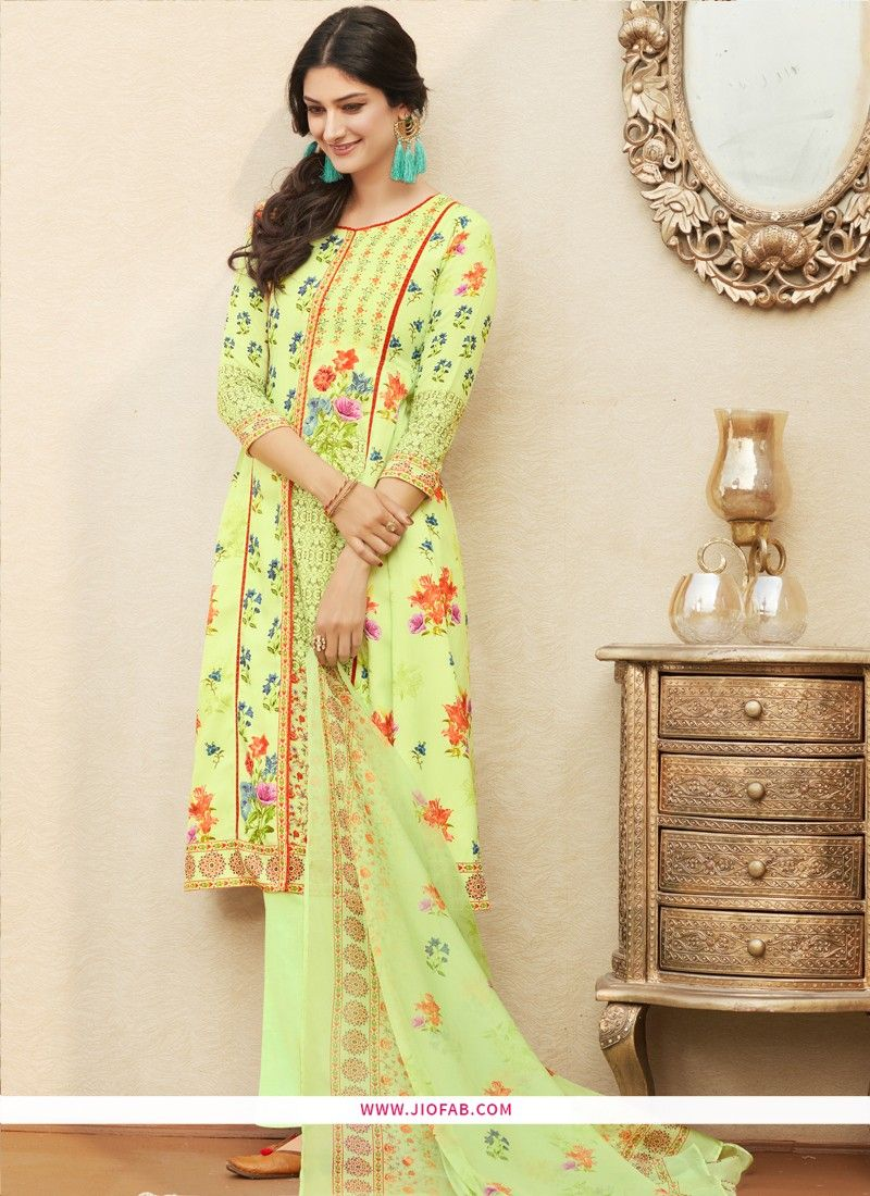 96bdf49828 Online Purchase Digital Printed Pure Cotton Light Green Designer Salwar Suit