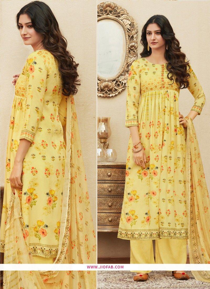 9927513019 Buy Online Digital Printed Pure Cotton Yellow Designer Salwar Suit