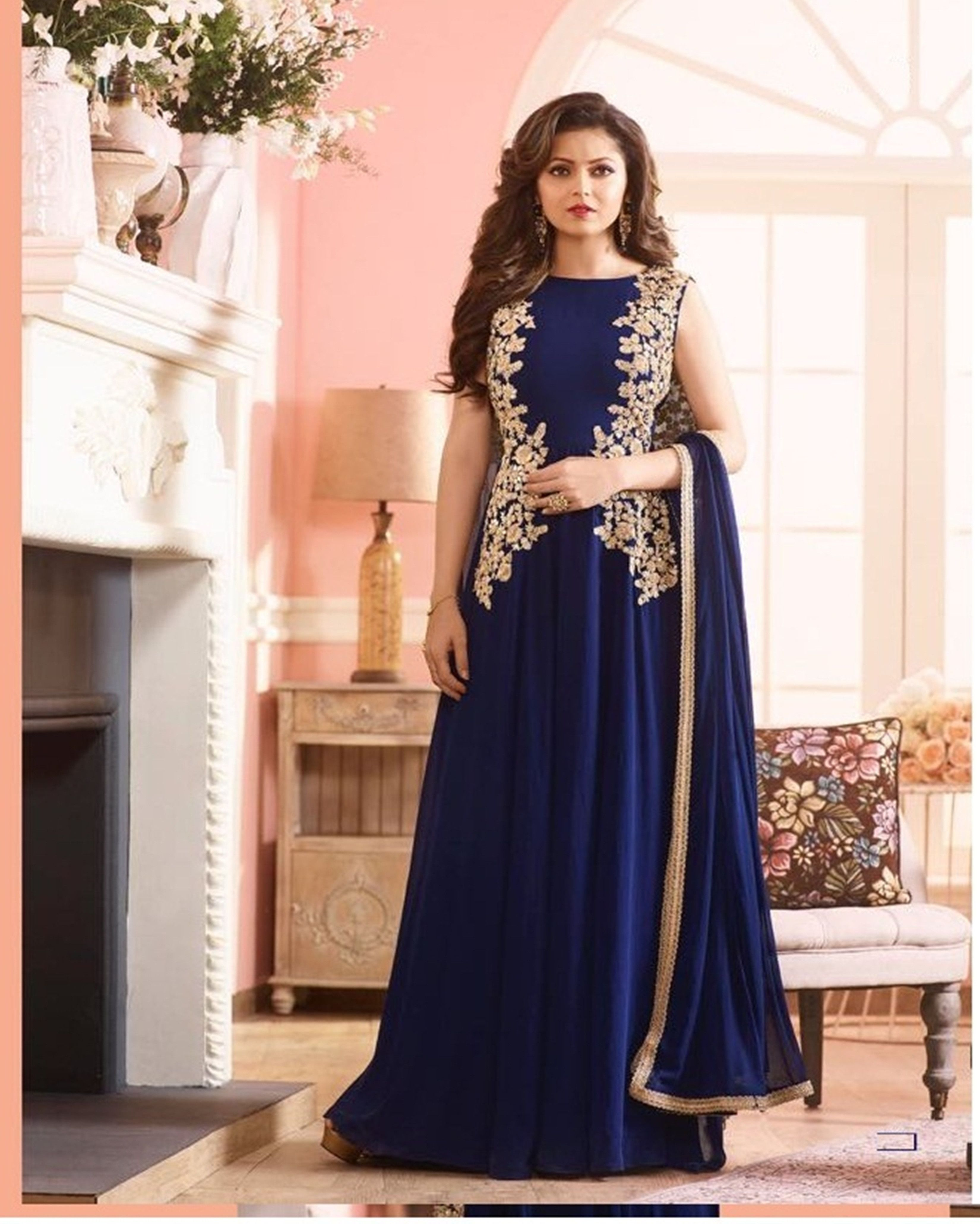 b27fb6e9a6b Buy Online Drashti Dhami Blue Georgette Long Gown Embroidered Party Wear  Suit - Women Indian Store