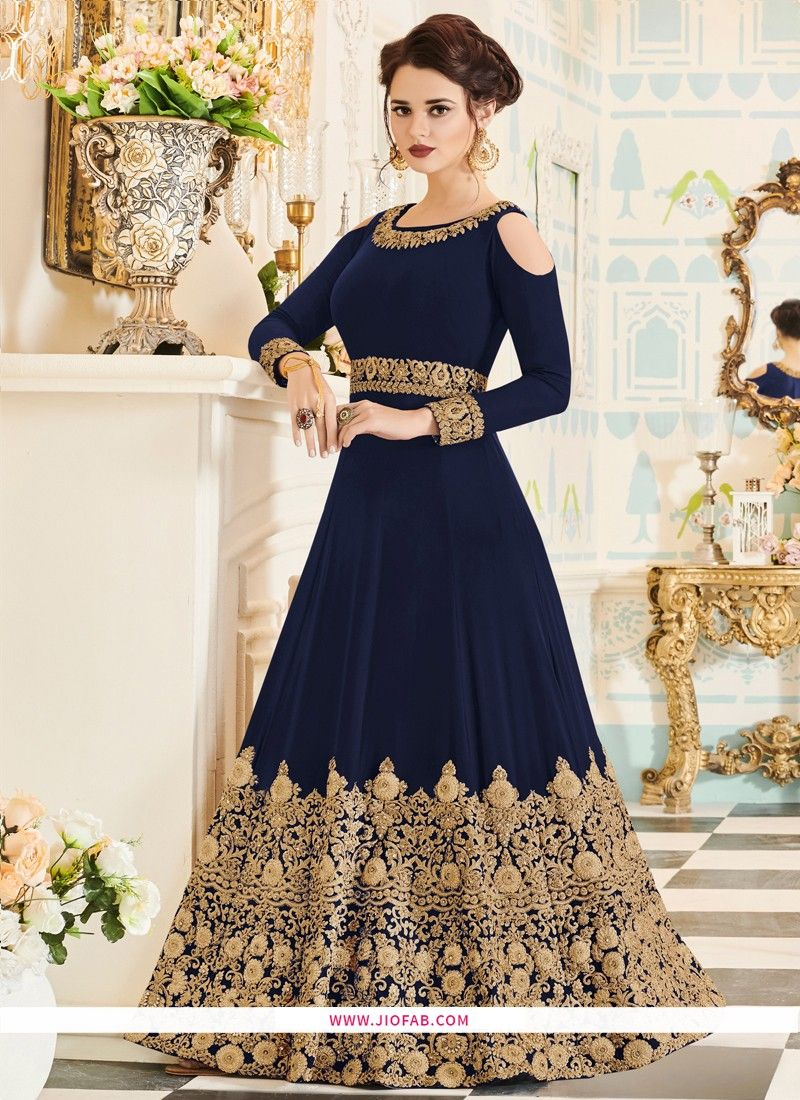 546cdddb39 Shop Online Embroidered Navy Velvet Floor Length Designer Salwar Suit