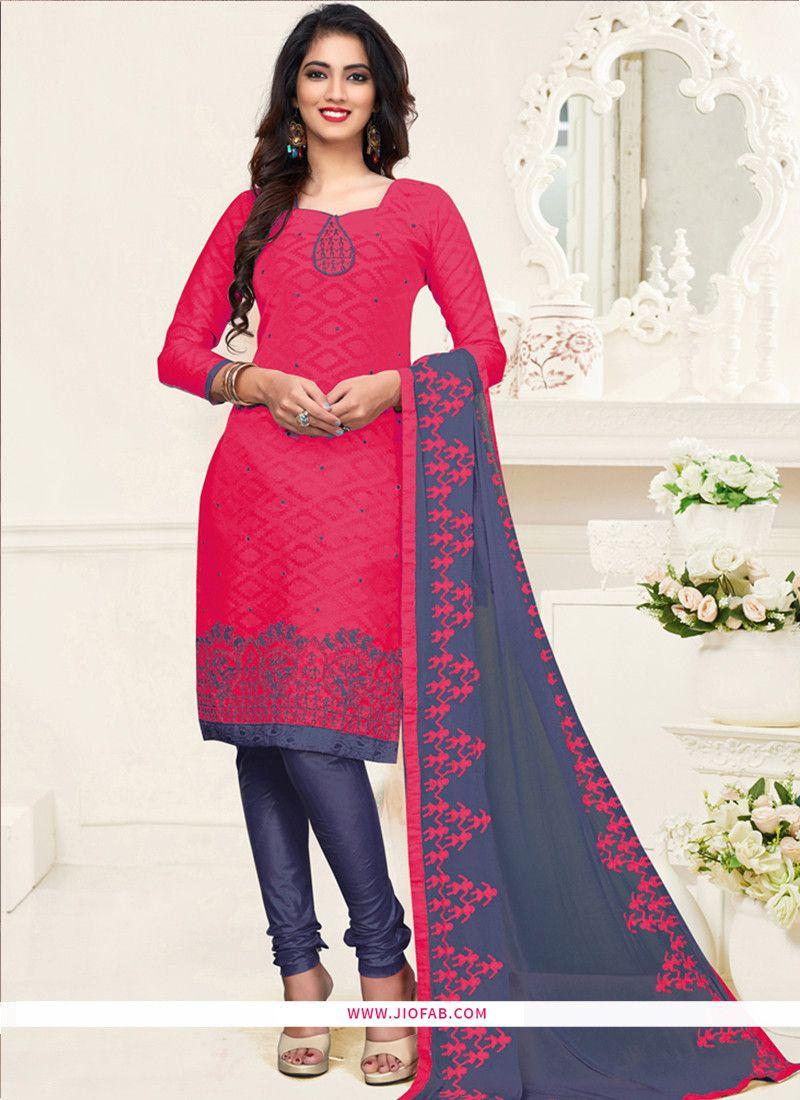 0df0f7281a Shop Embroidered Pink Cotton Jacquard Churidar Designer Salwar Suit Online