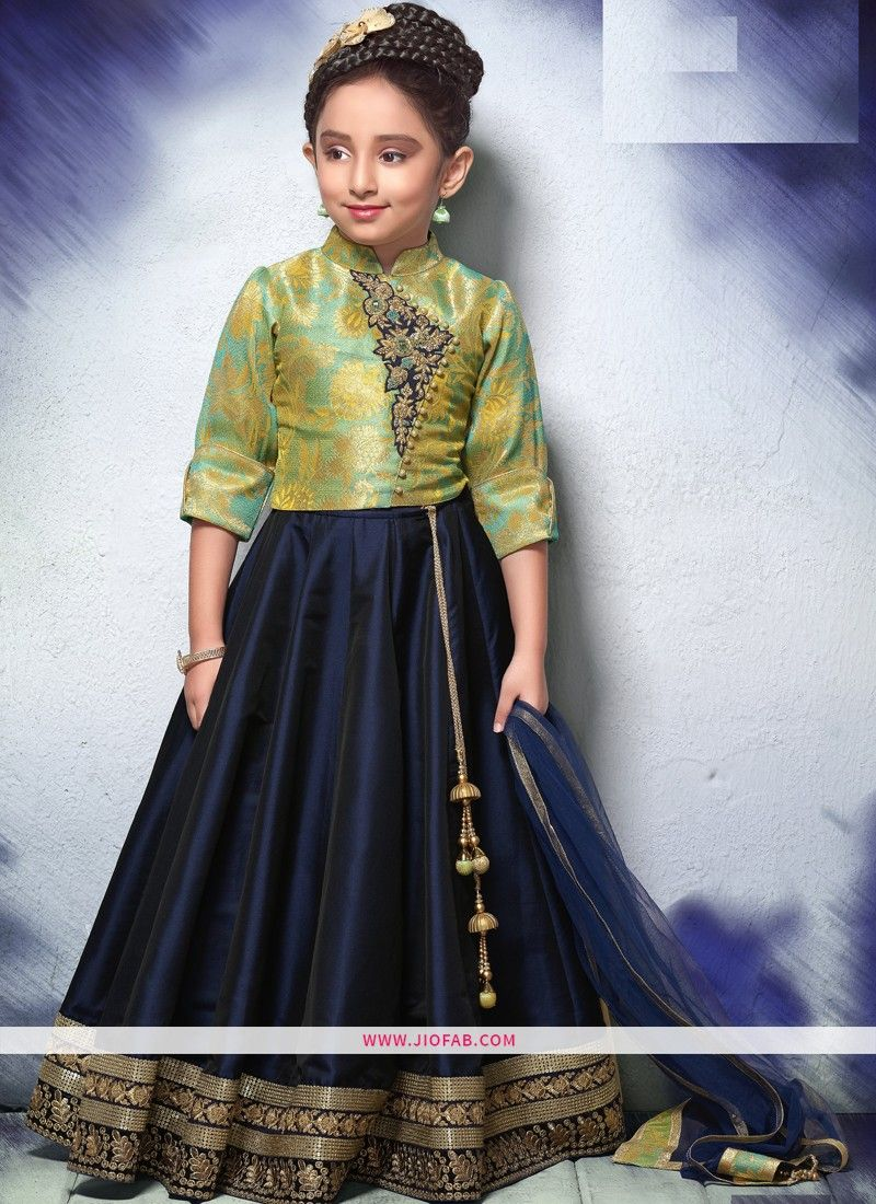 c10f187fc1 Buy Online Festive Indian Wear Pista And Navy Color Lehenga Choli For Girl  Kids