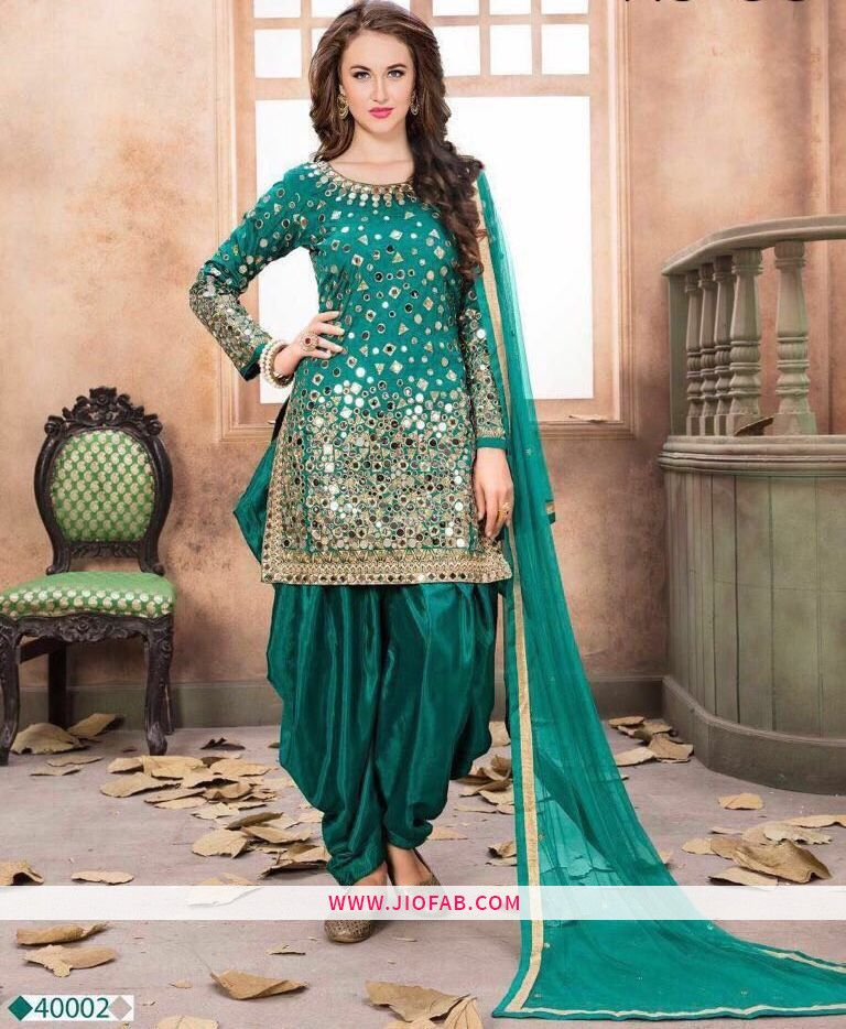 04b49bce8f2 Buy Online Firozi Embroidered Mirror Work Traditional Salwar Suit With  Georgette Dupatta