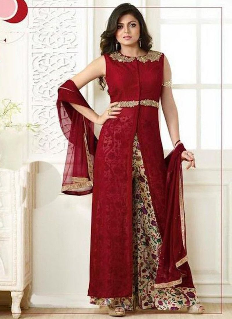 a6f4e500bad Buy Online Furiously Glamorous Maroon Color Drashti Dhami Designer Palazzo  Suit - Online Shopping For Women