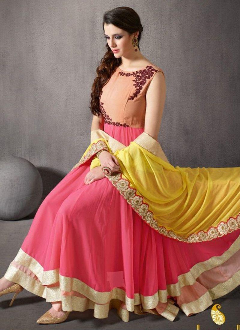 876c7be514 Buy Online Gajari Georgette Embroidered Work Partywear Anarkali Suit