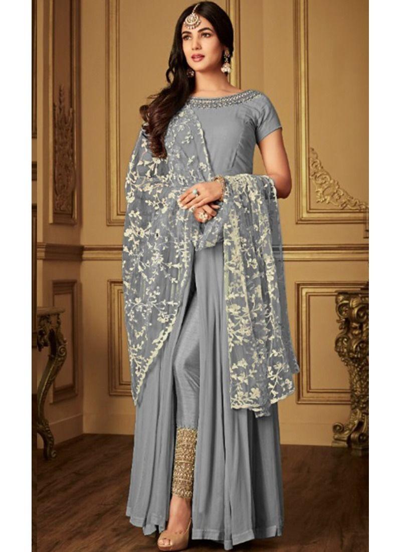 e188baef2a Buy Georgette Dusty Grey Designer Beautiful Design Party Wear Latest Salwar  Suit Eid Collection Online