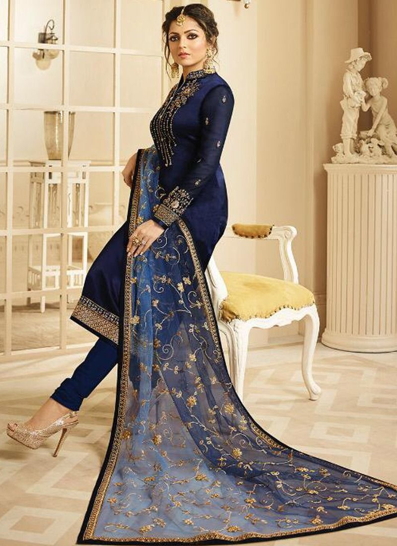 515afb33d3 Buy Online Georgette Navy Designer Beautiful Design Party Wear Latest Salwar  Suit Eid Collection