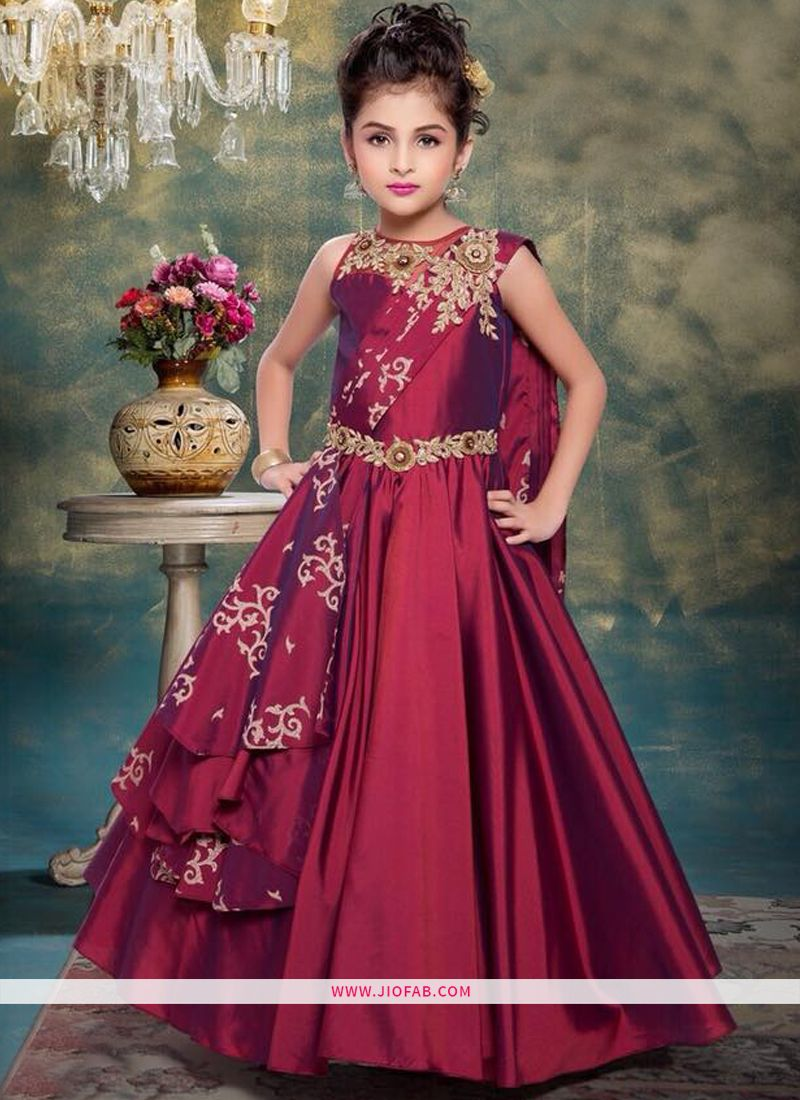 48557bc72 Buy Girl Indian Kids Wear Gown In Maroon Color Online | Kids Wear Online  India