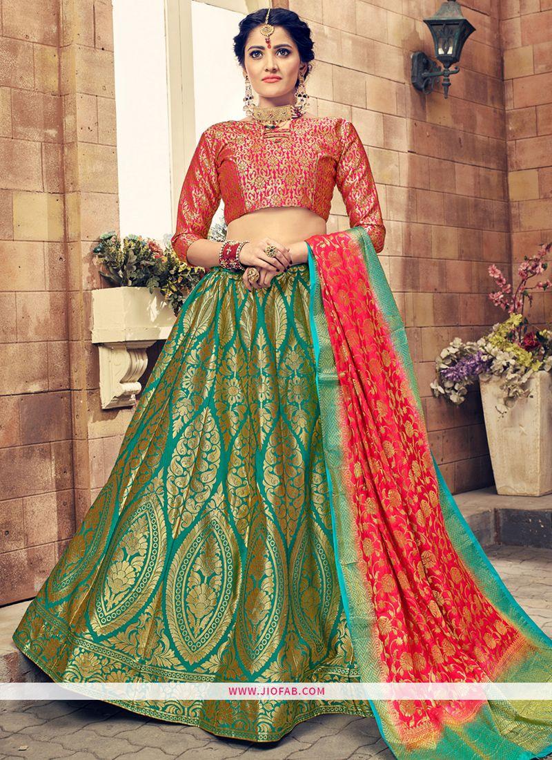 ef0887075 Buy Online Green Banarasi Silk Latest Party Wear Sabyasachi Lehenga Choli