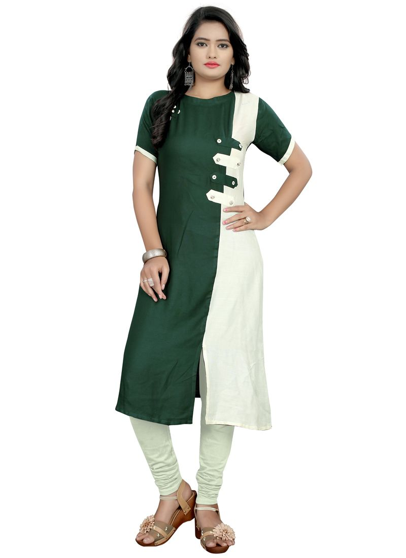 Shop Green Rayon Plain Latest Design Kurti Patterns Online