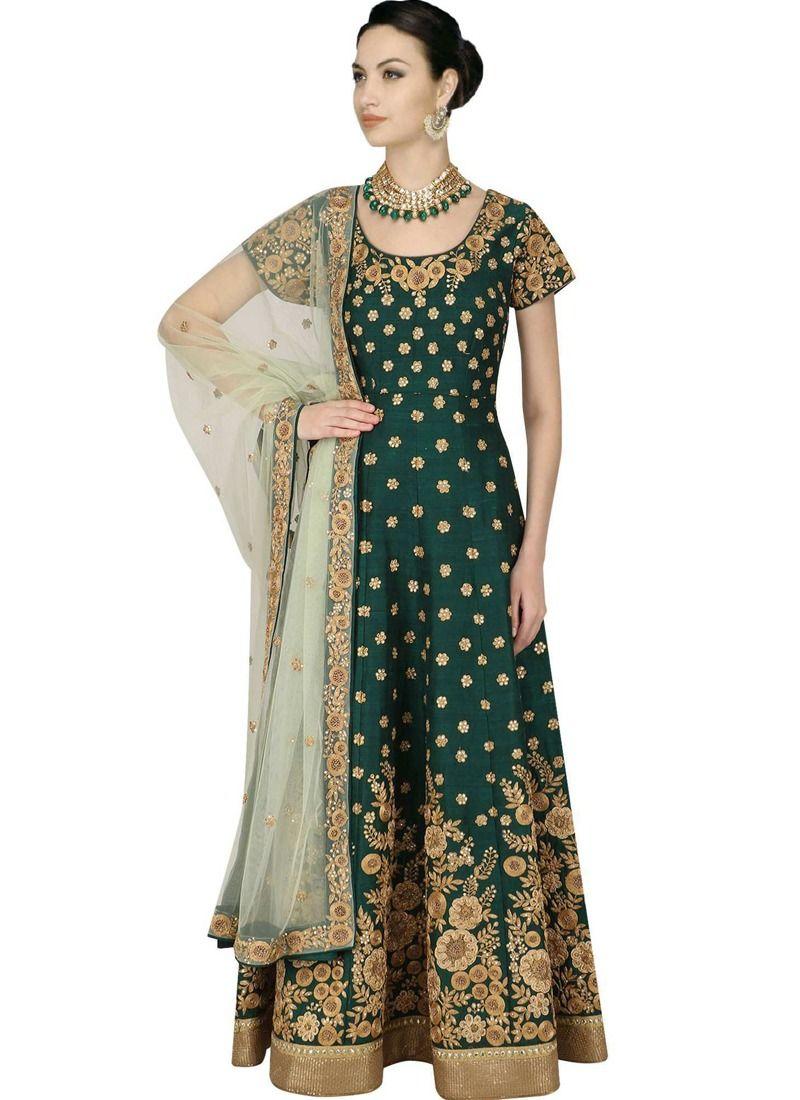 75ba47ec30 Buy Green Zari Embroidery Heavy Bridal Lehenga Choli With Raw Silk Fabric  Online