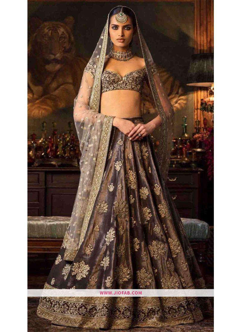 59edeae5b Buy Heavy Embroidery Brown Sabyasachi Lehenga Choli For Diwali ...