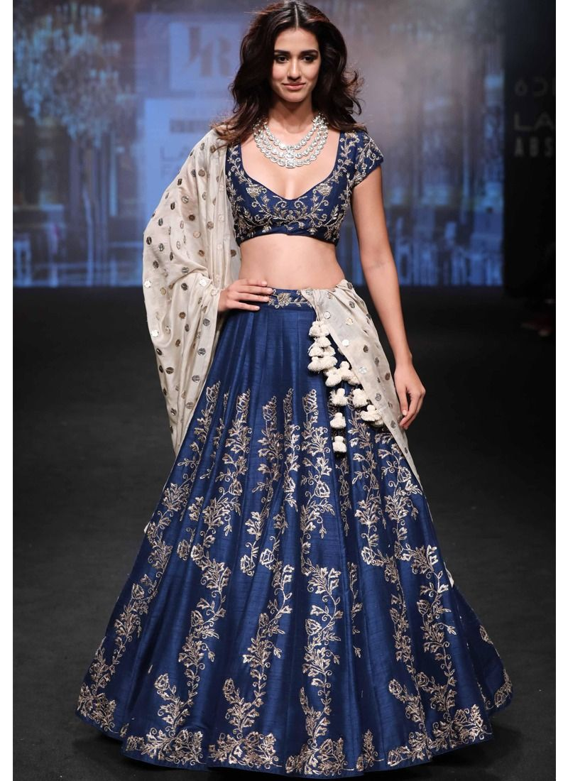 7855e6f07 Online Purchase Heavy Embroidery Navy Sabyasachi Lehenga Choli For Diwali  Celebration