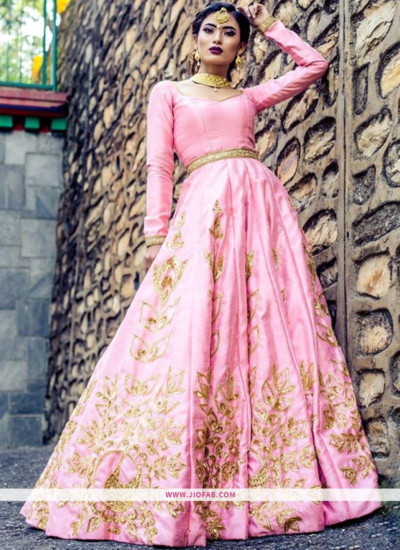 582b62b72b AB-128 | Buy Heavy Embroidery Taffeta Silk Designer Gown In Baby Pink Color  Online
