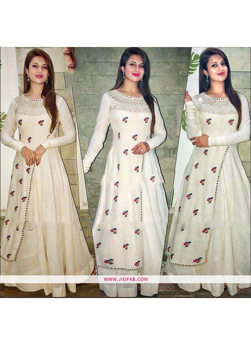 f7db63f7867 AB-98   Shop Online Heavy Embroidery Taffeta Silk Designer Gown In Off  White Color