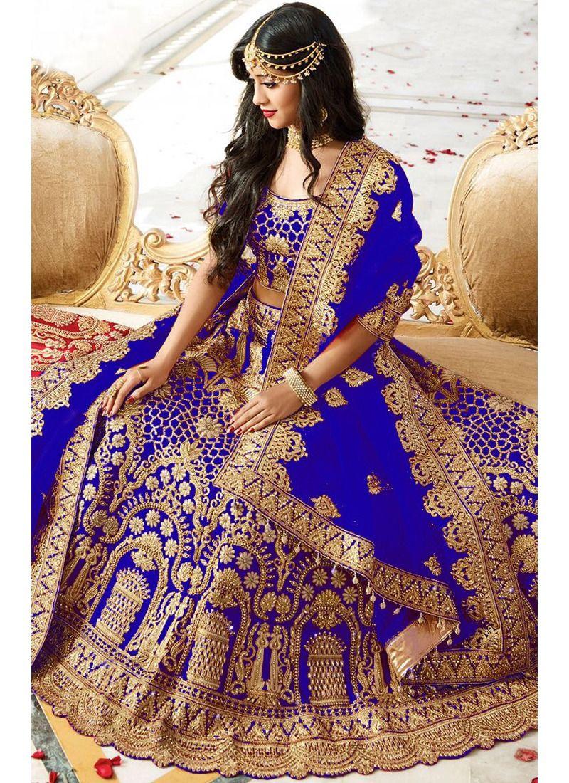 6ba57dfad2 Shop Online Higly Demanded Royal Blue Banglori Silk Embroidered Bridal  Lehenga Choli With Mono Net Dupatta