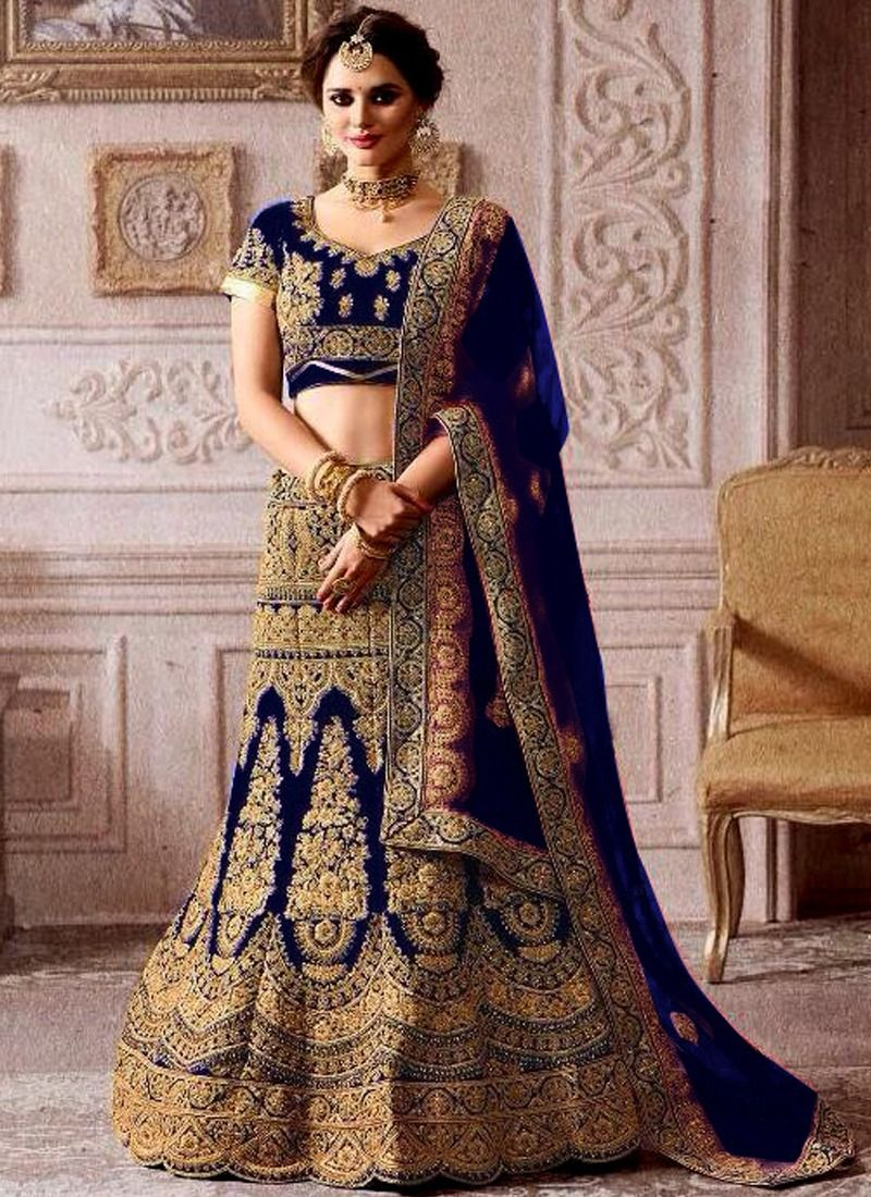 Online Purchase Higly Demanded Royal Blue Velvet Diamond Work Bridal Lehenga Choli With Mono Net Dupatta
