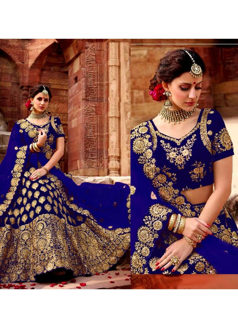 Shop Online Higly Demanded Royal Blue Velvet Embroidered Bridal Lehenga Choli With Mono Net Dupatta