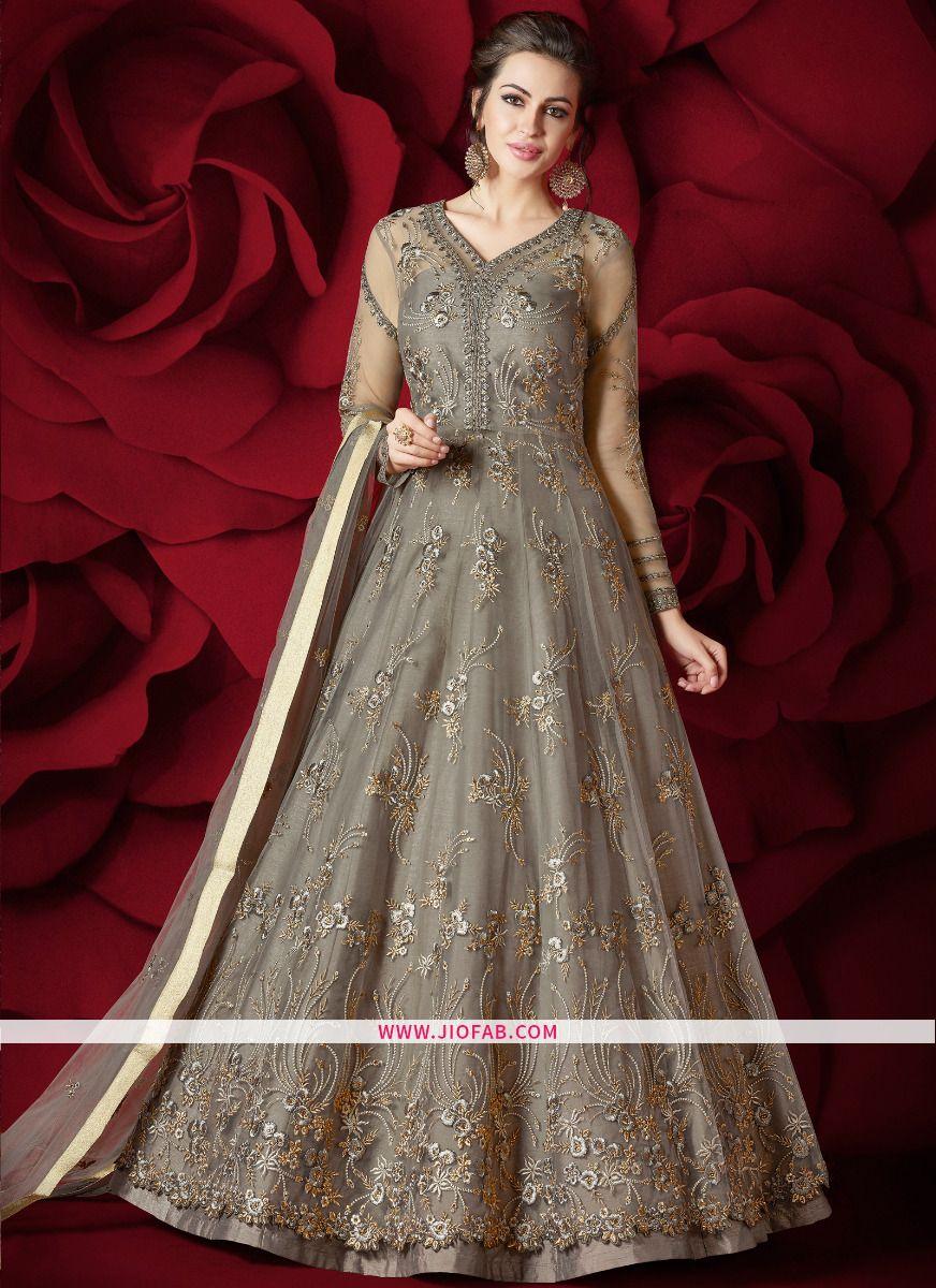 886167e44f Buy Impressive Beige Resham Embroidery Pearl Work Net Stone Work Razzi Vol  2 Floor Length Designer Anarkali Suit Online