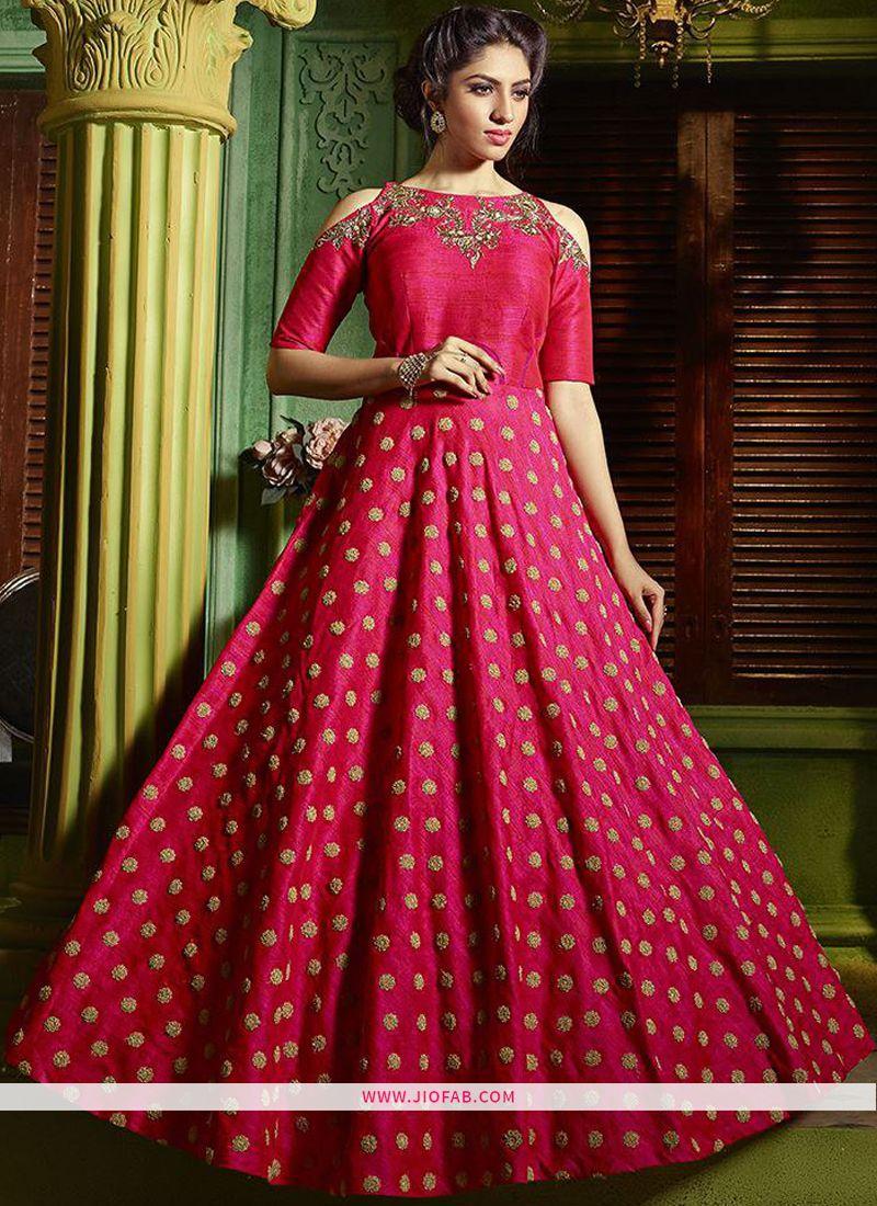 b4c5033c77 Buy Online Indian Designer Lotus Pink Color Bridal Silk Gown For Women