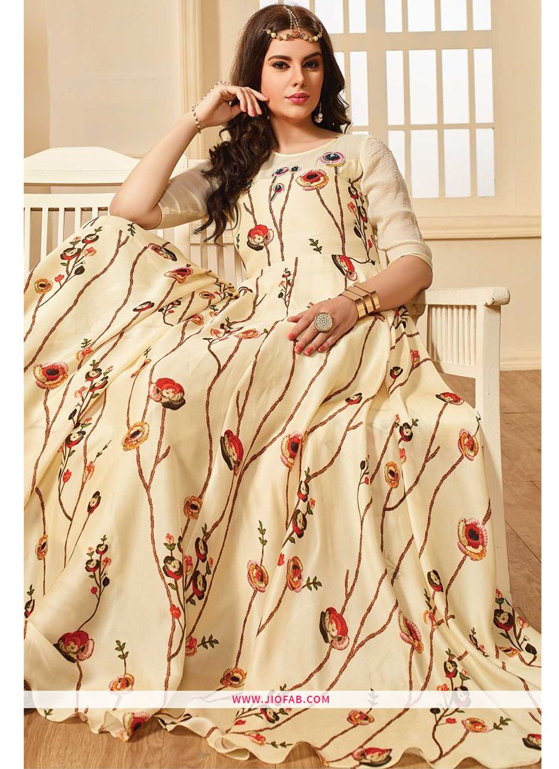 c0b2b820cfe5 Shop Online Indian Designer Off White Color Maslin Cotton Gown For Women