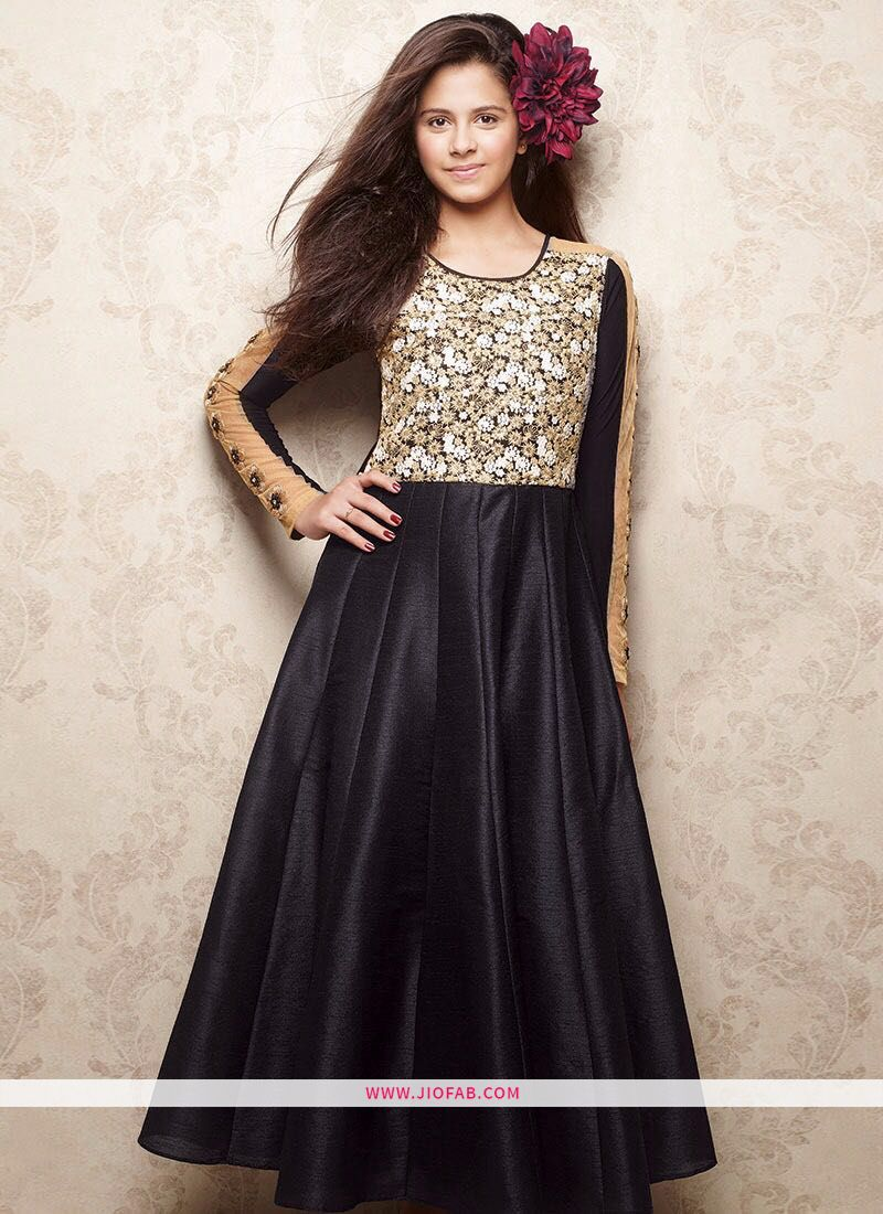 0a8db91d58 Shop Indian Ethnic Wear Gown In Black Color For Little Girl Online