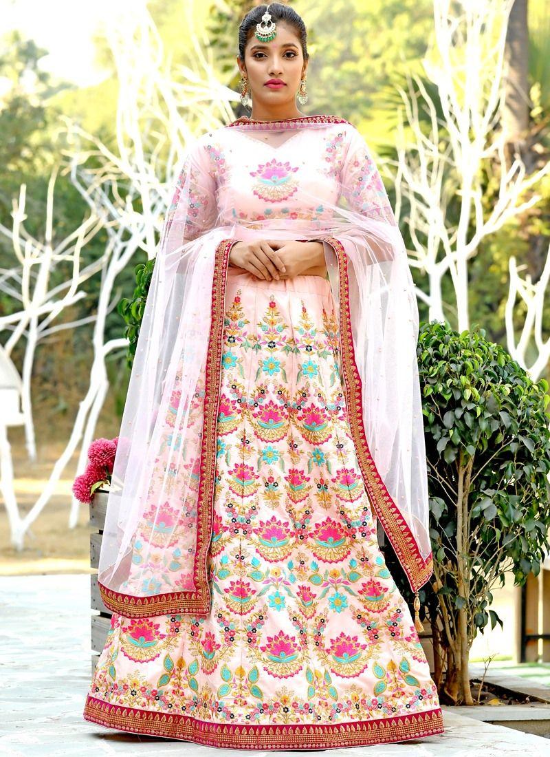c36d8152d9 Buy Indian Traditional Peach Bridal Wedding Designer Lehenga Choli Online
